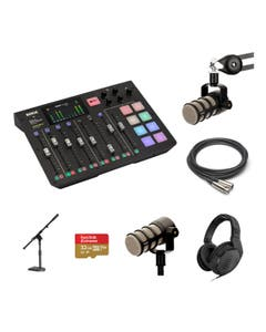 RODE RODECaster 2 Person Standard Kit with PodMic and DS1 Stand and Sennheiser HD 200 PRO