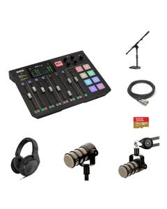 RODE RODECaster 4 Person Standard Kit with PodMic and DS1 Stand and Sennheiser HD 200 PRO