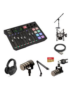 RODE RODECaster 4 Person Pro Kit with PROCASTER and PSA1 and PSM1 Sennheiser HD 200 PRO